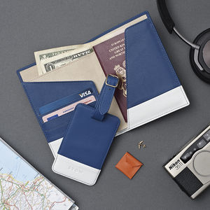 Luxury Leather Passport Wallet And Luggage Tag Gift Set