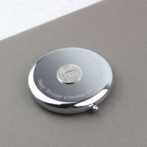 Personalised Silver Sixpence/Farthing Compact Mirror