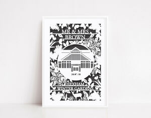 Personalised Wedding Woodlands Paper Cut Unframed Print