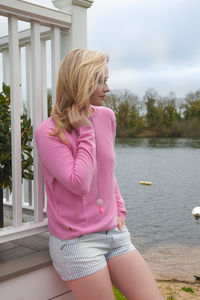 Pink Cashmere Crew Neck Sweater - women's fashion