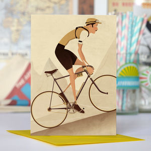Vintage Tour De France Cyclist Greetings Card - gifts for cyclists