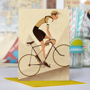 Vintage Tour De France Cyclist Greetings Card