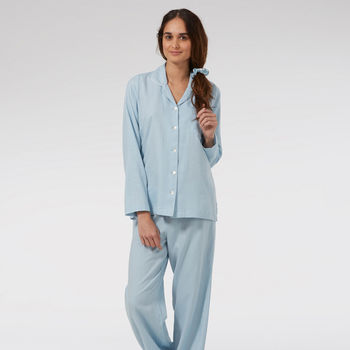 Baby Blue Brushed Twill Pyjamas With White Piping