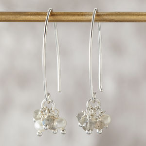 Labradorite And Pearl Silver Cluster Earrings - earrings