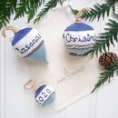 Crocheted Personalised My 1st Christmas Bauble Set
