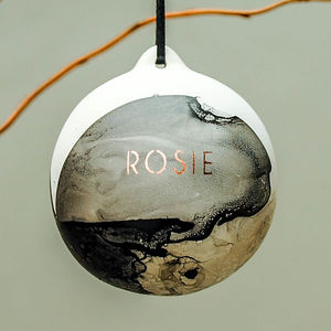 Personalised Name Copper Marble Bauble - christmas decorations