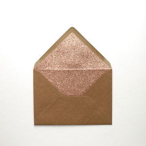 Rose Gold Glitter Lined Envelopes. Pack Of 10