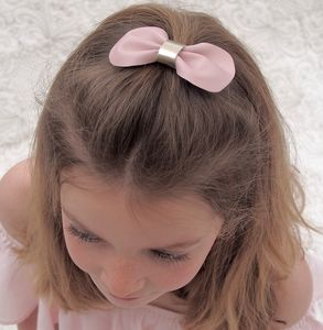 Girls Lux Leather Bow Hair Clip Pale Pink And Gold