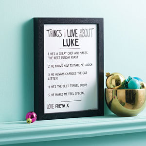 Personalised 'Things I Love About' Boyfriend Print - posters & prints