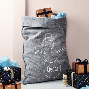 Personalised Grey Felt 'Snowman' Christmas Sack