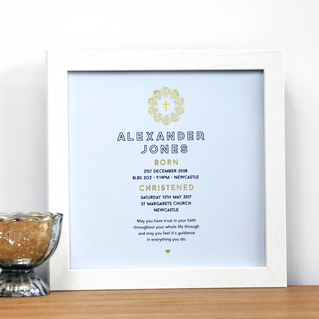 Personalised Framed Christening Baptism Print With Gold