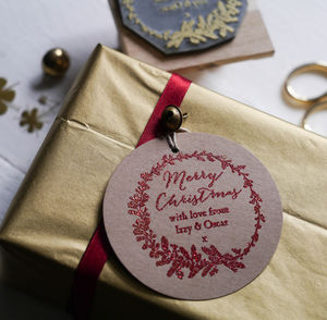 Christmas Half Wreath Woodland Stamp