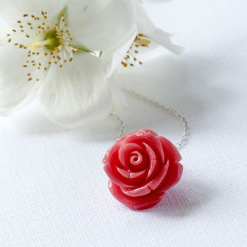 Coral Bakelite Flower Necklace