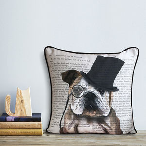English Bulldog Cushion, Formal Dog Collection - cushions
