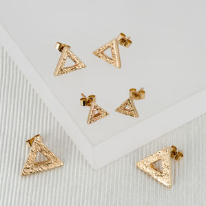 Geometric Triangle Gold Studs