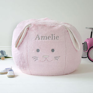 Personalised Children's Pink Bunny Bean Bag - baby's room