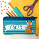 Children's Personalised 'Clever Fox' Fabric Pencil Case