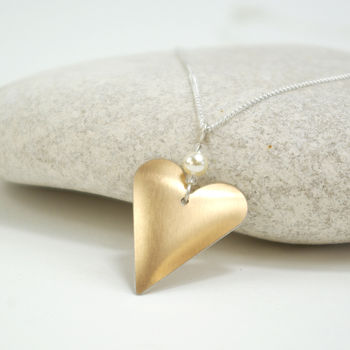 Eco Aluminium Rose Gold Heart Necklace With Pearl