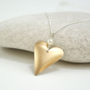 Slim Heart With Pearl - necklaces & pendants