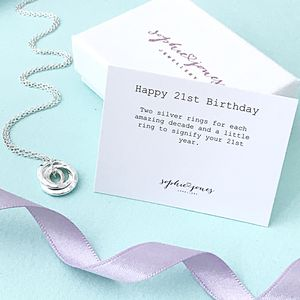 21st Birthday Silver Necklace - personalised jewellery