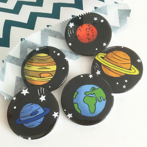 Set Of Five Space And Planets Badges - pins & brooches