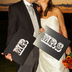 'Mr' And 'Mrs' Wedding Sign Props