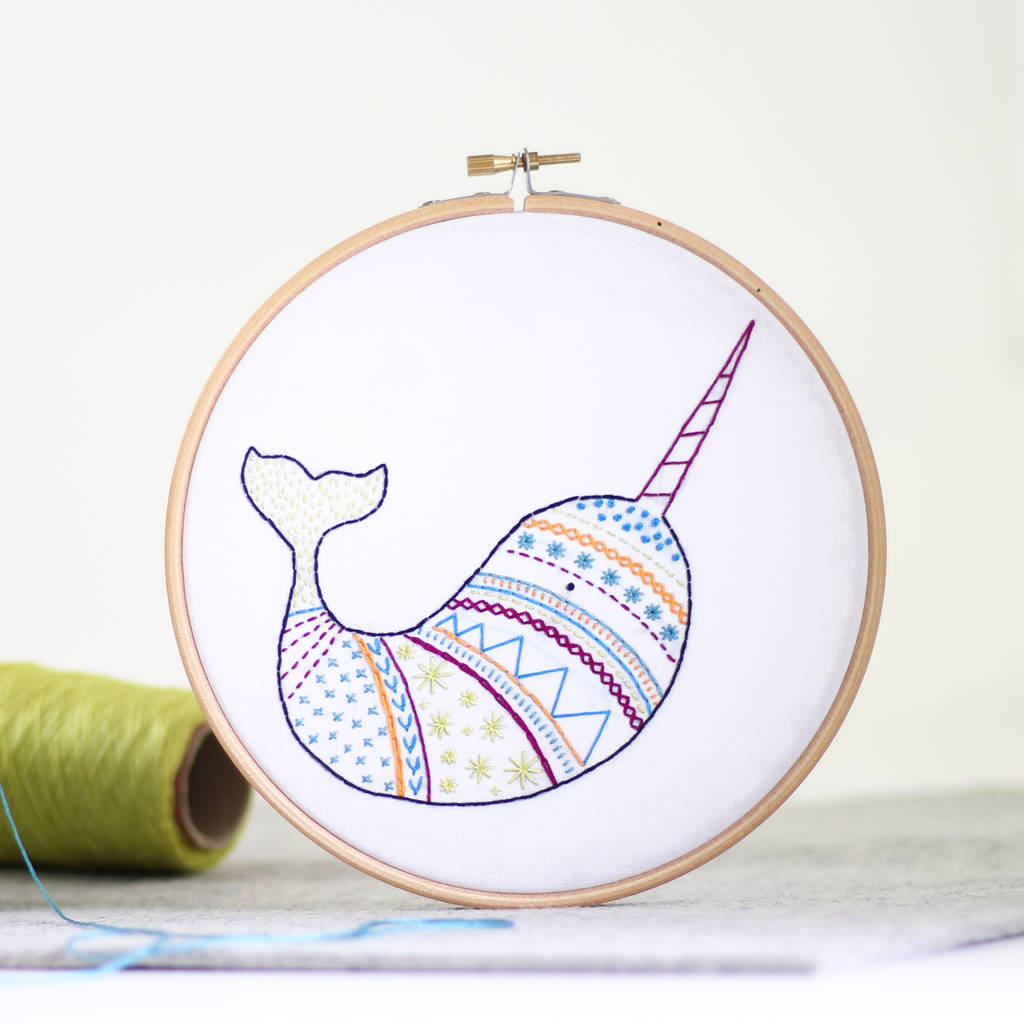 Narwhal contemporary embroidery craft kit by hawthorn
