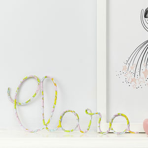 Personalised Name Sign Liberty Betsy Pink And Wire