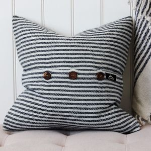 White And Grey Striped Cushion - living room