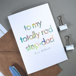 Totally Rad Step Dad | Personalised Father's Day Card - cards for step dads