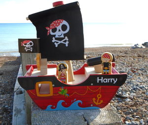 Personalised Wooden Pirate Ship - wooden toys