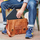 Personalised Vintage Leather Satchel / Laptop Bag