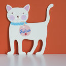 Baby Boy's Cream Cat Shaped Door Plaque