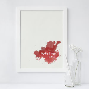 Personalised Watercolour Splat Couple Wall Print - family & home