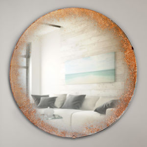 Antiqued Copper Rim Round Mirror - bedroom