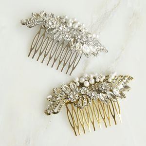 Vintage Crystal Pearl Hair Comb Silver/Gold - wedding fashion