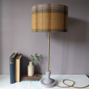 Wool Plaid Brass Lamp - table lamps