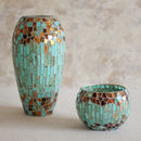 Robin Egg Blue Mosaic Candle Holder And Vase