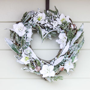 The Frosted Heart Christmas Wreath - wreaths