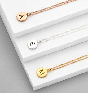Personalised Engraved Hexagon Initial Pendant Necklace - gifts for sisters