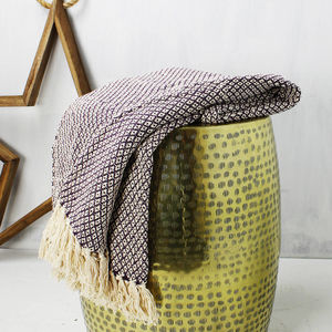 Plum And Cream Woven Textured Throw