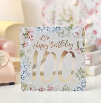 100th Birthday Botanical And Gold Greeting Card