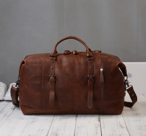Eazo Front Zip Leather Travel Duffle Bag Personalised - holdalls & weekend bags