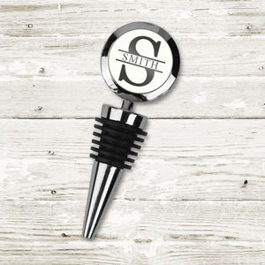 Personalised Initial And Surname Bottle Stopper - drink & barware