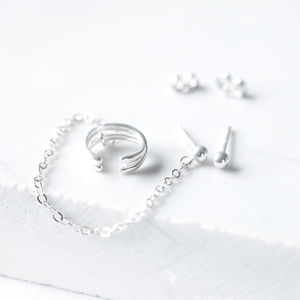 Modern Silver Ear Cuff With Chain And Ball Studs
