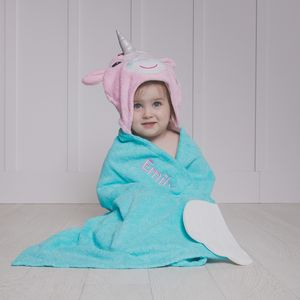 Personalised Allie The Unicorn Hooded Towel