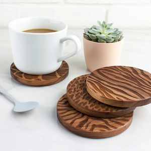 Wood Animal Print Coaster Set
