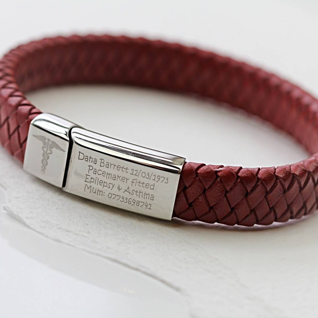 french medic product by bracelet medical notonthehighstreet original morgan red leather single com deep morganfrench alert