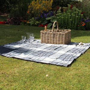 Charcoal And Cream Check Picnic Blanket
