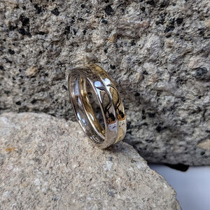 Double Gold And White Gold Fairtrade Wedding Ring Set